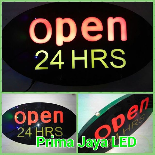 Lampu LED Sign Open 24 hour