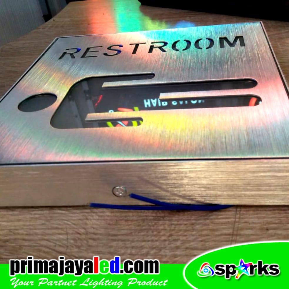 Sign LED Restroom Biru 20cm